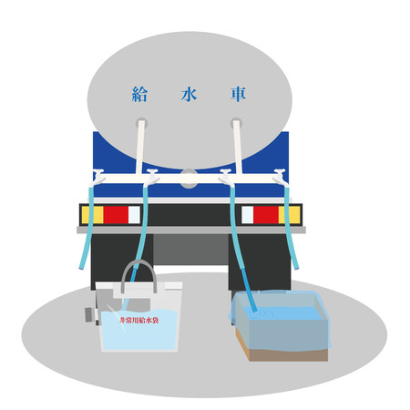 Image to have water divided from a water supply car Illustration