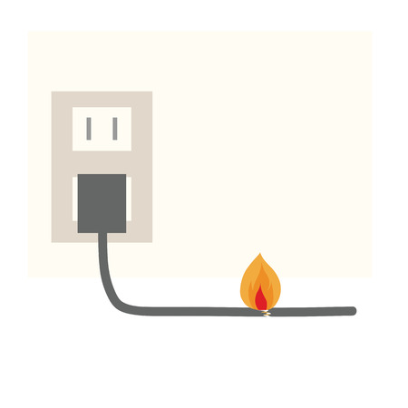Fire broke due to electric cord Illustration