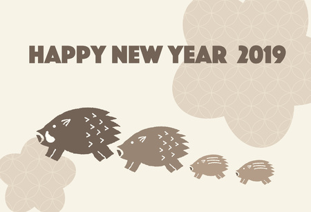 New Years card of illustrations of Japanese pattern and wild boar.