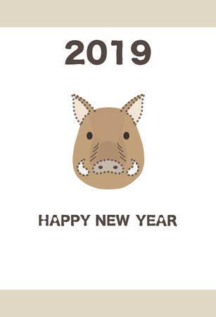 New Years card template on boars face