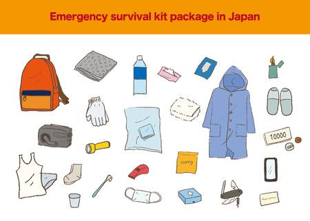 Illustration of Japanese emergency survival kit Иллюстрация
