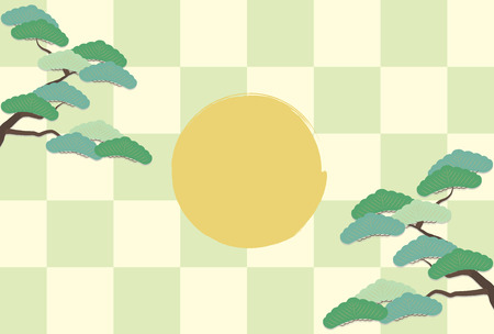 Pine tree and plum blossoms and checkerboard yearly image. Banco de Imagens - 131776318