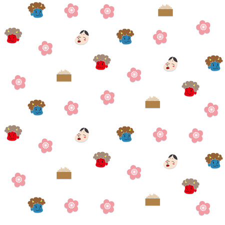 Illustration of seamless pattern of demons and beans of mamemaki.