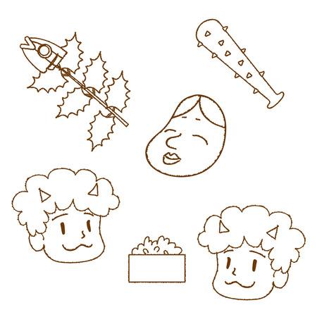 Illustration of mamemakis item,demon,bean,club,sardine stabbed Holly.