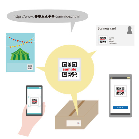 Illustration of various uses of QR code Stock Illustratie