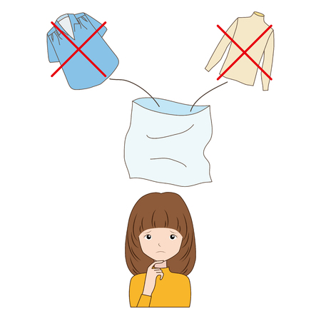woman thinking to throw away unnecessary clothing  イラスト・ベクター素材