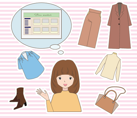 Flea market services and clothing and women on the internet