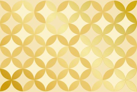 Hintergrund des traditionellen Musters · Shippo-Tsunagi Illustration: Gold-Version. Vektorgrafik