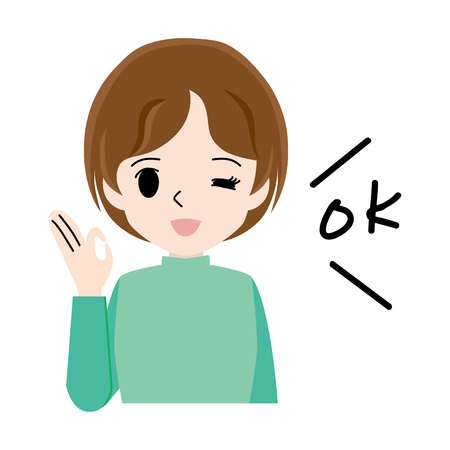 Illustration of a young woman who gives an OK sign.