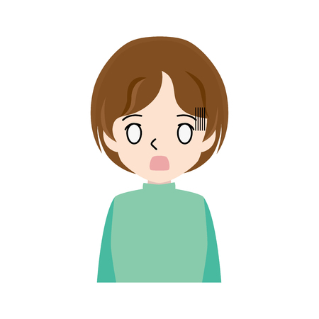 Illustration of a young woman with a surprised face.
