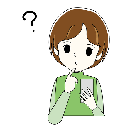 Illustration of a woman who uses smartphones in doubtful gestures.
