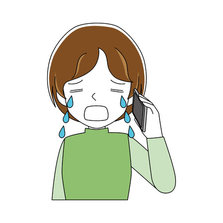 Illustration of a woman crying while talking on the phone.