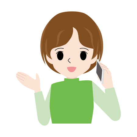 Illustration of a woman who raises one hand while talking on the phone.