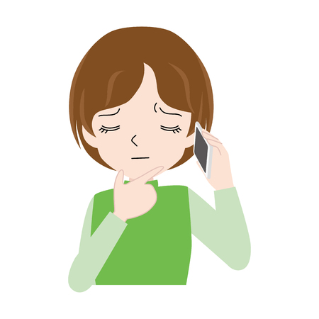Illustration of a woman who is suffering while speaking on a smartphone.