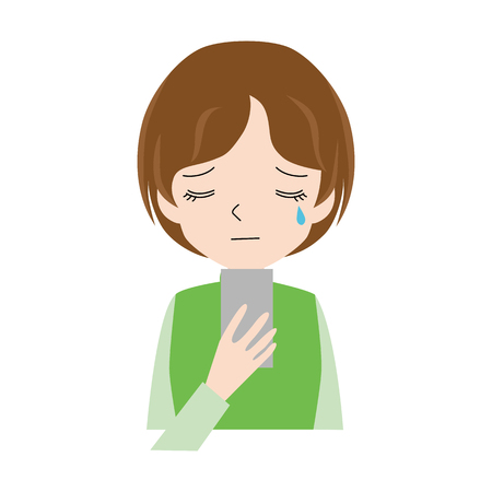 Illustration of a woman who cries watching a smartphone.  イラスト・ベクター素材