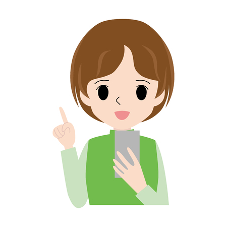 Illustration of a woman holding a smartphone with her forefinger up.