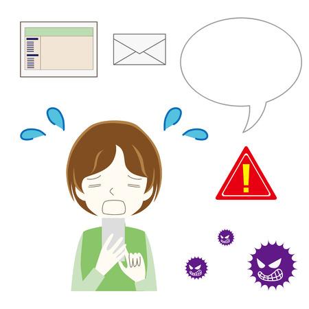 Illustration set of spam mail and website.
