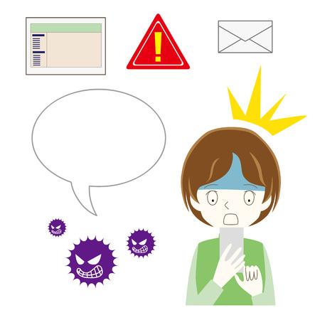 Illustration set of spam mail and website