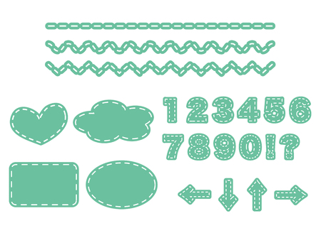 set of labels and decorative ruled lines with stitches.