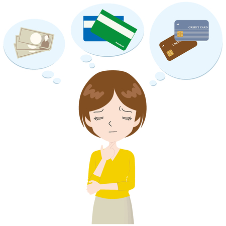 woman thinking about household budgets. Illustration