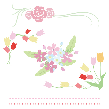 Illustration set of roses, tulips and forget-me-nots Stock Illustratie
