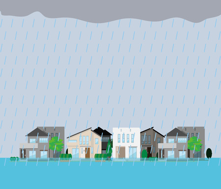 Illustration of a submerged residential area.