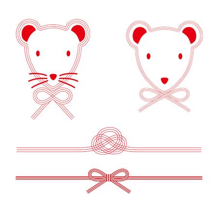 Illustration of the mouse of Mizuhiki.  イラスト・ベクター素材