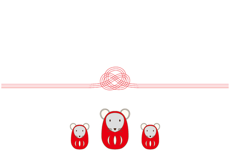 New Years card illustration of mouse Daruma doll and Mizuhiki. 向量圖像
