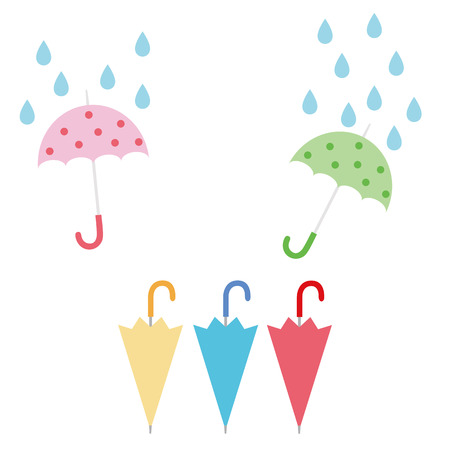 Illustration of rain and umbrella