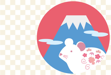 New + Year + card + illustration + of + Mount + Fuji + and + White + mouse% 28Checkered + background% 29.