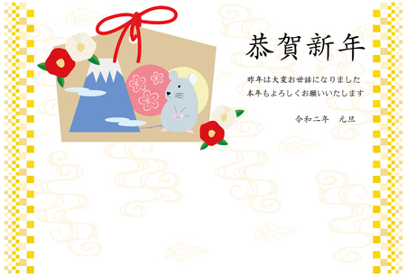 New Year card illustration of Mouse Ema and camellia flowers(with gashi) Çizim