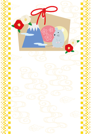 New Year card illustration of Mouse Ema and camellia flowers.