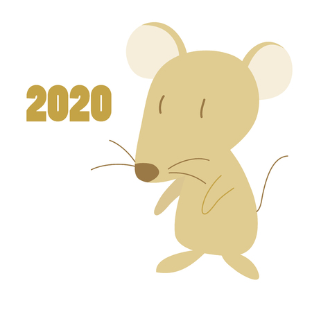 Illustration of the year and the cute mouse. Zdjęcie Seryjne - 122831753