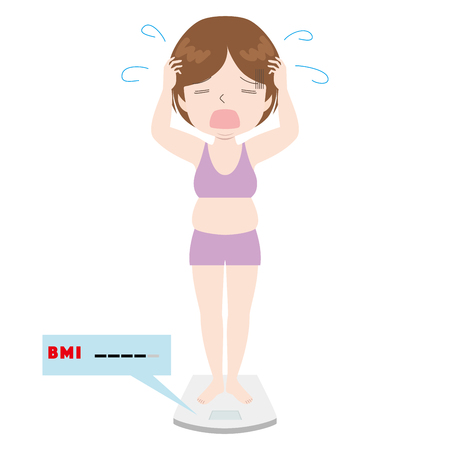 illustration of a woman lamenting on a weight scale.  イラスト・ベクター素材
