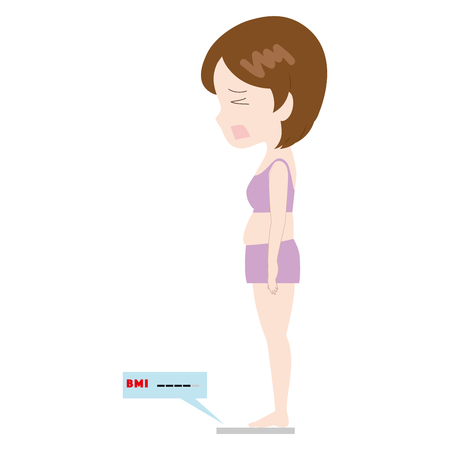 illustration of a woman lamenting on a weight scale. Ilustrace