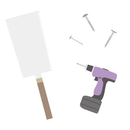 Illustration of a DIY tool.(Saws, nails, etc.) Stock fotó - 131776383