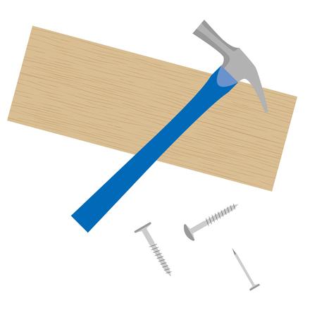 Illustration of a DIY tool .(hammer, boards, etc.) Ilustração