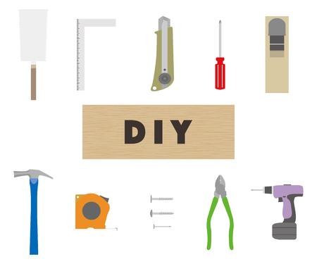 Illustration of a DIY tool set  イラスト・ベクター素材
