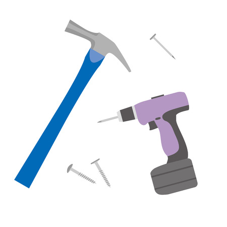 Illustration of a DIY tool .(hammer, screws, etc.)