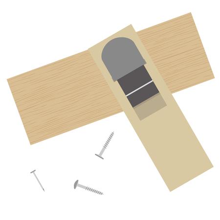 Illustration of a DIY tool plane.(plane, screws, etc.)