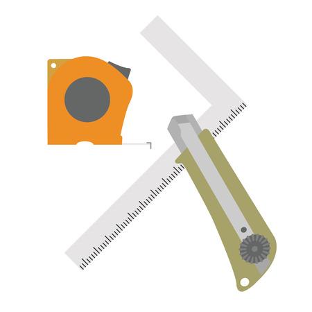 Illustration of DIY tools. (steel square, tape measure, etc.)
