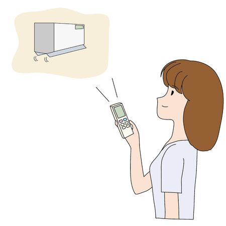 Illustration of a woman turning on an air conditioner in room. Vettoriali