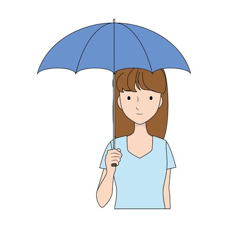 Illustration of a woman holding a parasol.