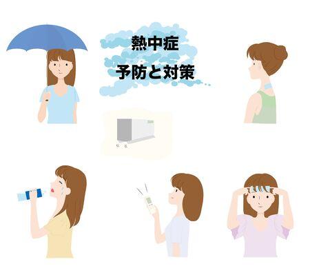 Illustration set for preventing and preventing heatstroke.