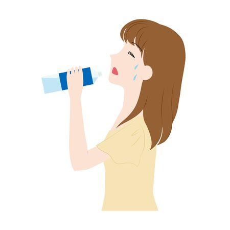 Illustration of a woman rehydrating.