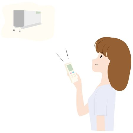 Illustration of a woman turning on an air conditioner in room. Illustration