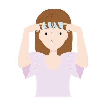 illustration of a woman putting a cooling sheet on her forehead.