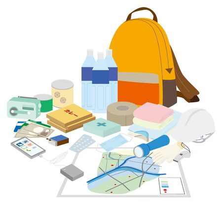 Illustration of a set of disaster prevention goods