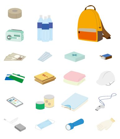 Illustration of disaster prevention item icon set