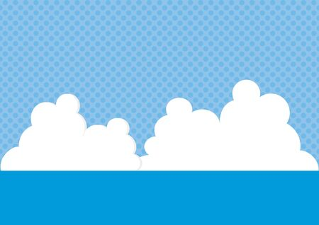 Illustration of sea, blue sky and dotted background.